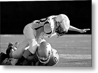 Football In Black And White Metal Print by Susan Leggett