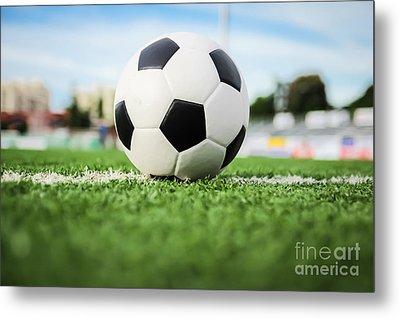 Football On Green Grass   Metal Print