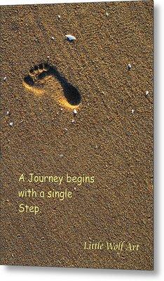Footprint On Beach Quote Metal Print