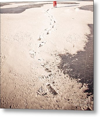 Footprints In The Snow Metal Print by Christina Klausen