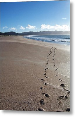 Metal Print featuring the photograph Footsteps In The Sand by Peter Mooyman