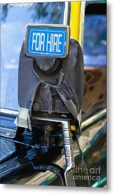 For Hire Sign On Taxi Metal Print by Inti St. Clair