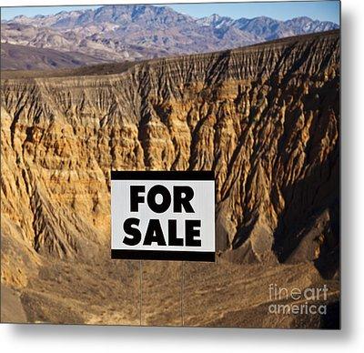 For Sale Sign In Desert Landscape Metal Print by David Buffington