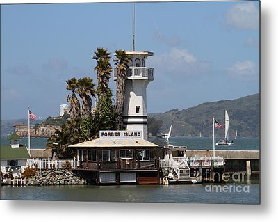 Forbes Island Restaurant With Alcatraz Island In The Background . San Francisco California . 7d14258 Metal Print by Wingsdomain Art and Photography