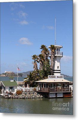 Forbes Island Restaurant With Alcatraz Island In The Background . San Francisco California . 7d14263 Metal Print by Wingsdomain Art and Photography