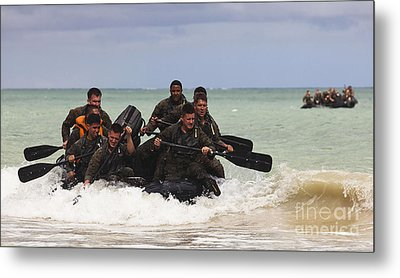 Force Reconnaissance Marines Paddle Metal Print by Stocktrek Images