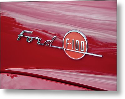 Ford F-100 Nameplate Metal Print by Guy Whiteley