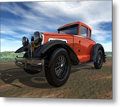 Metal Print featuring the digital art Ford Model A by John Pangia