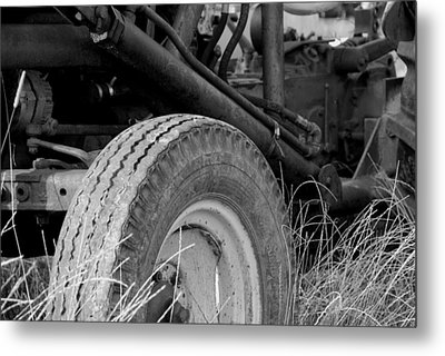 Ford Tractor Details In Black And White Metal Print by Jennifer Ancker