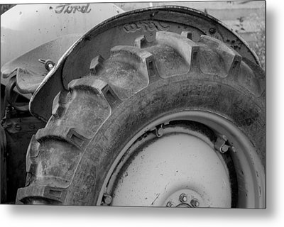 Ford Tractor In Black And White Metal Print