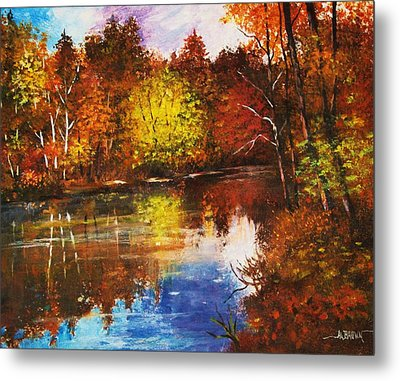 Metal Print featuring the painting Forest Reflectons by Al Brown
