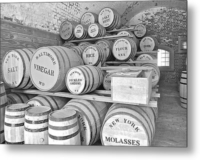 Fort Macon Food Supplies Bw 9070 3759 Metal Print by Michael Peychich