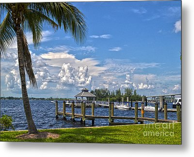 Fort Myers Dock Metal Print by Timothy Lowry