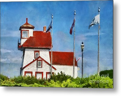 Fort Point Lighthouse In Liverpool Nova Scotia Canada Metal Print