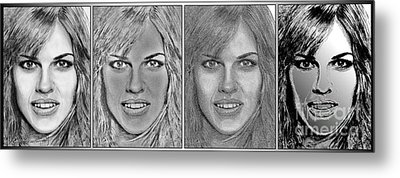 Four Interpretations Of Hilary Swank Metal Print by J McCombie