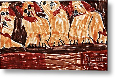 Four Puppies In A Row Metal Print by Stephanie Ward