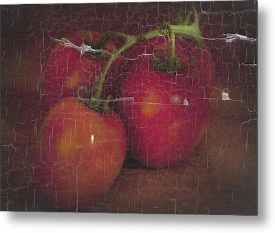 Metal Print featuring the photograph Four Tomatoes Crackle by James Bethanis