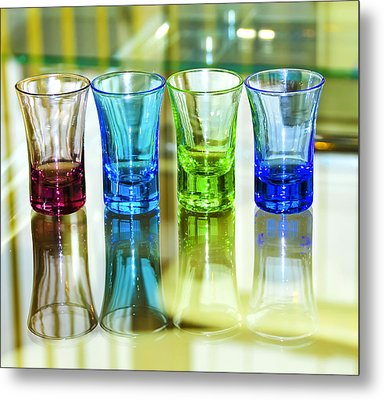 Four Vodka Glasses Metal Print by Svetlana Sewell