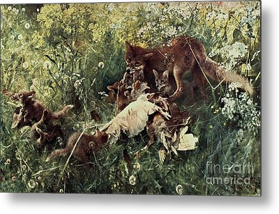 Fox Family Metal Print by Pg Reproductions