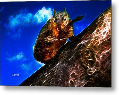 Fractal - How Do You Like My Mustache - Robbie The Squirrel Metal Print by James Ahn
