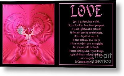 Fractal Love 1 Corinthians 13 Metal Print by Rose Santuci-Sofranko
