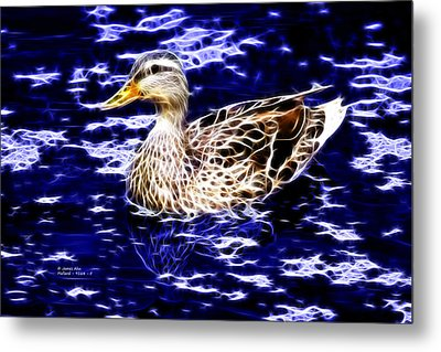 Fractal - Mallard In Pond- 9164 Metal Print by James Ahn