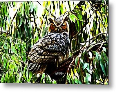 Fractal-s -great Horned Owl - 4336 Metal Print by James Ahn