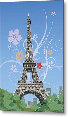 France, Paris, Eiffel Tower, Capital Cities Metal Print