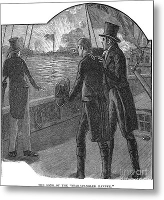 Francis Scott Key (1779-1843). American Lawyer And Poet. Witnessing The Bombardment Of Fort Mchenry, September 13-14, 1814: Wood Engraving, American, 1885 Metal Print by Granger