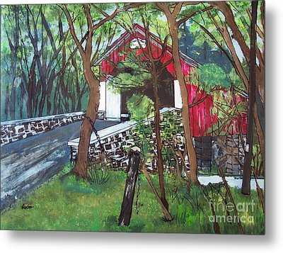 Frankenfield Covered Bridge Metal Print by Lucia Grilletto