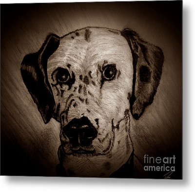 Metal Print featuring the drawing Freckles by Ayasha Loya