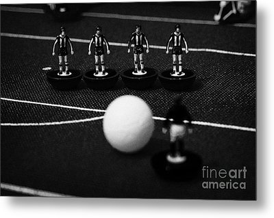 Free Kick Wall Of Players Football Soccer Scene Reinacted With Subbuteo Table Top Football  Metal Print by Joe Fox