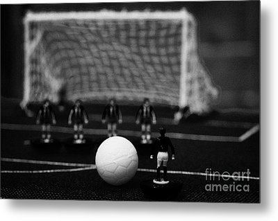 Free Kick With Wall Of Players Football Soccer Scene Reinacted With Subbuteo Table Top Football  Metal Print by Joe Fox
