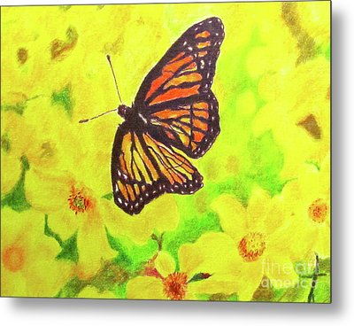 Metal Print featuring the drawing Free To Fly by Beth Saffer