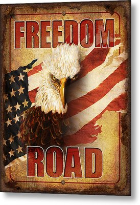 Freedom Road Sign Metal Print by JQ Licensing