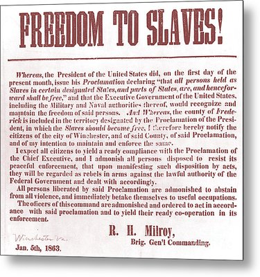 Freedom To Slaves Metal Print by Photo Researchers, Inc.