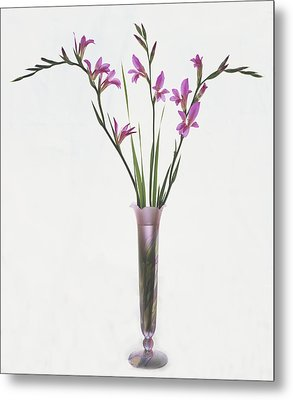 Metal Print featuring the photograph Freesias In Vase by Susan Rovira