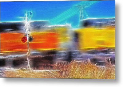 Freight Train At Railroad Crossing 2 Metal Print by Steve Ohlsen