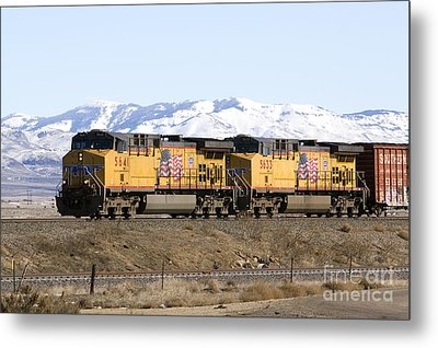Freight Train East Of Boise Metal Print by David R Frazier and Photo Researchers