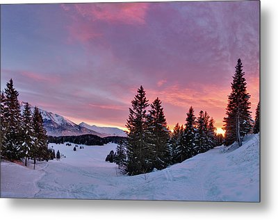 French Alps At Sunset Metal Print by Philipp Klinger