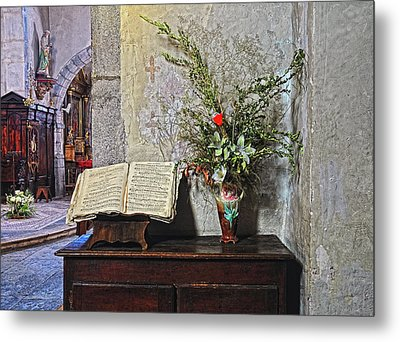 Metal Print featuring the photograph French Church Decorations by Dave Mills