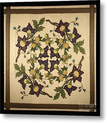 French Floral Tapestry Metal Print