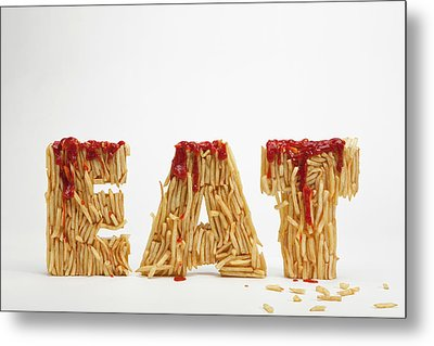 French Fries Molded To Make The Word Fat Metal Print by Caspar Benson