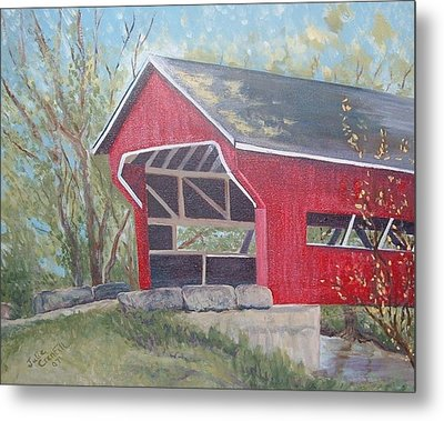 French Lick Covered Bridge Metal Print by Julie Cranfill