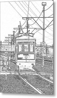 French Quarter French Market Cable Car New Orleans With Photocopy Metal Print by Shawn O'Brien
