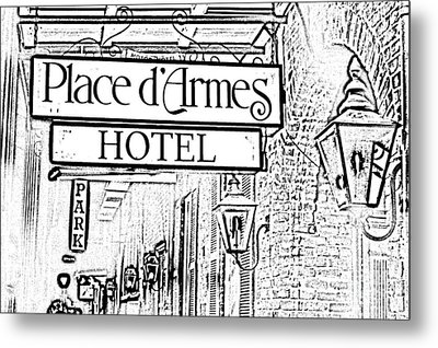 French Quarter Place Darmes Hotel Sign And Gas Lamps New Orleans Photocopy Digital Art Metal Print by Shawn O'Brien