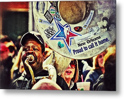 Metal Print featuring the photograph French Quarter Tuba Guy 1 by Jim Albritton