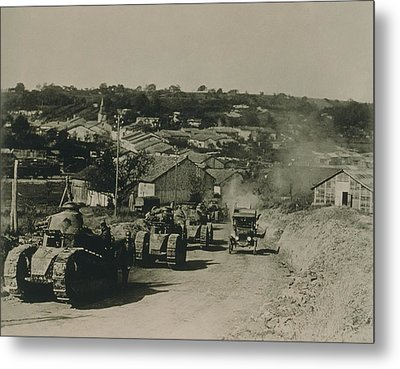 French Tanks Passing Through Rampont Metal Print by Everett