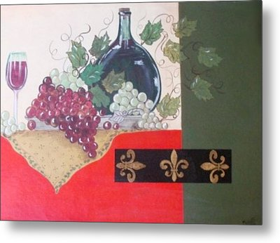 French Wine Metal Print by Cindy Micklos