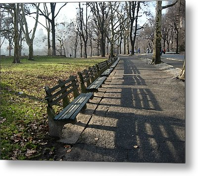 Metal Print featuring the photograph Fresco Park Benches by Sarah McKoy